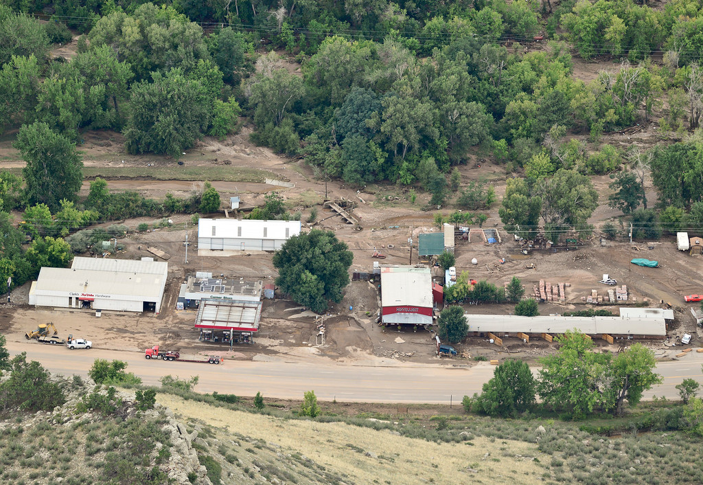 Description of . Flooded building along Highway 36 are seen, Saturday, Sept. 14, 2013, in Lyons. (Matthew Jonas/Times-Call)