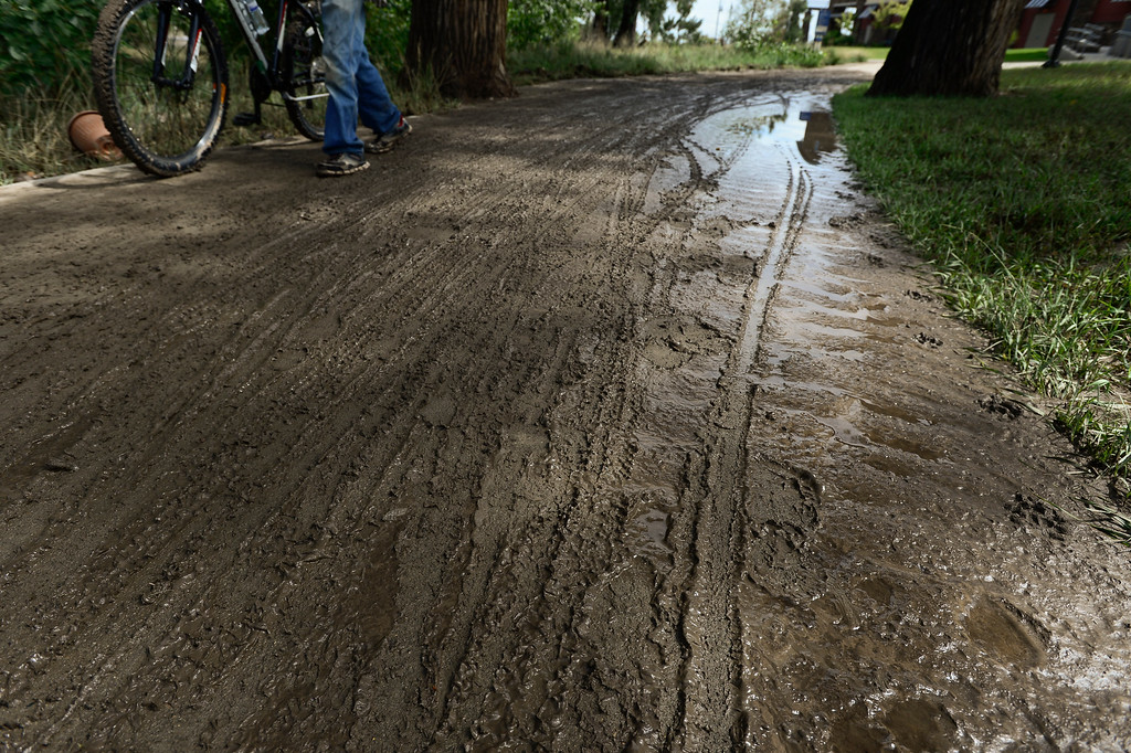 Description of . A man walks his bicycle through the mud on the St. Vrain Greenway path near Ken Pratt and Martin Street, Friday, Sept. 13, 2013, in Longmont.