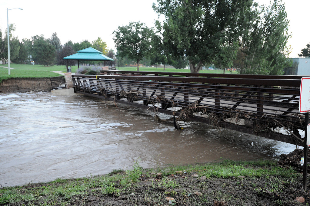Description of . A bridge at Kanemoto Park was damage from flood water from Lefthand Creek in Longmont.