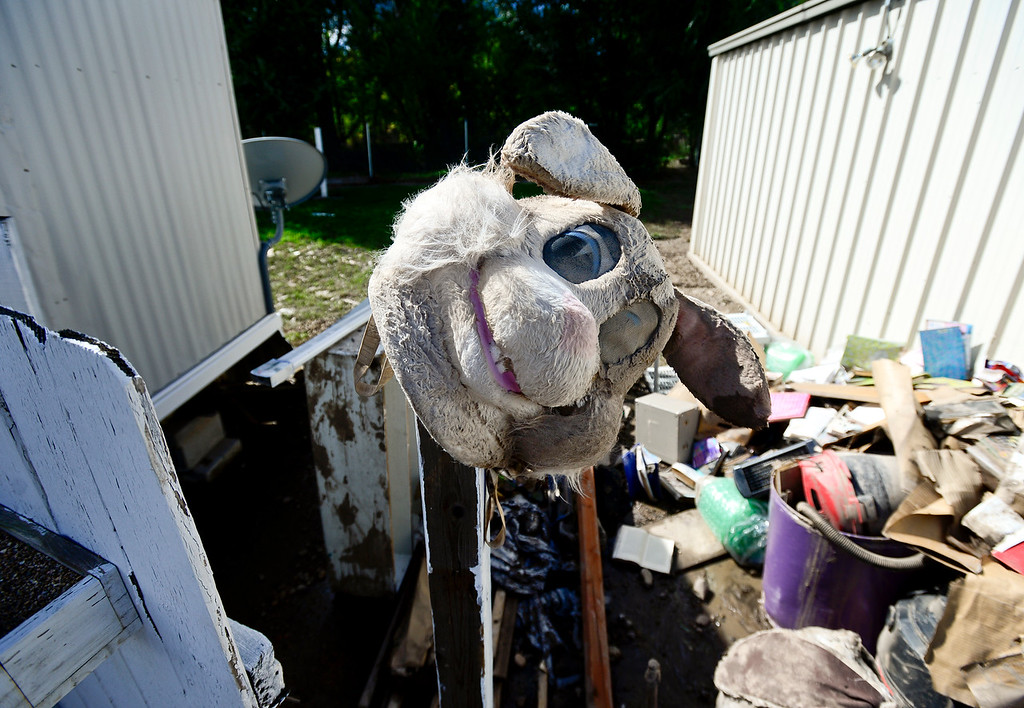 Description of . A furry mask is seen in a pile of flood damaged belongings next to a storage unit, Monday, Sept. 23, 2013, at Storage West Self Storage in Longmont.