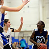 "Longmont defenders, including Anna Schell, left, converge on Vista PEAK's Aaliyah Carter (24) during the game at Longmont High School on Tuesday, Feb. 26, 2013. Longmont beat Vista PEAK 65-18. For more photos visit  <a href=""http://www.BoCoPreps.com"">http://www.BoCoPreps.com</a>.<br /> (Greg Lindstrom/Times-Call)"