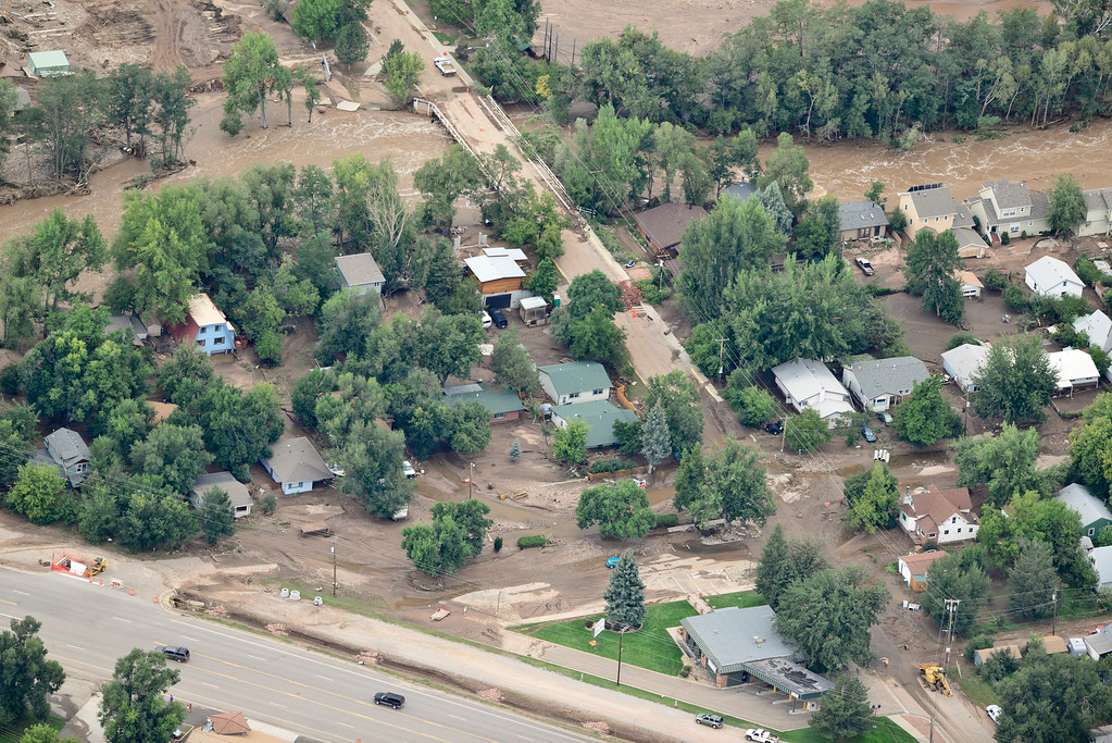 . A flooded section of Lyons is seen, Saturday, Sept. 14, 2013. (Matthew Jonas/Times-Call)
