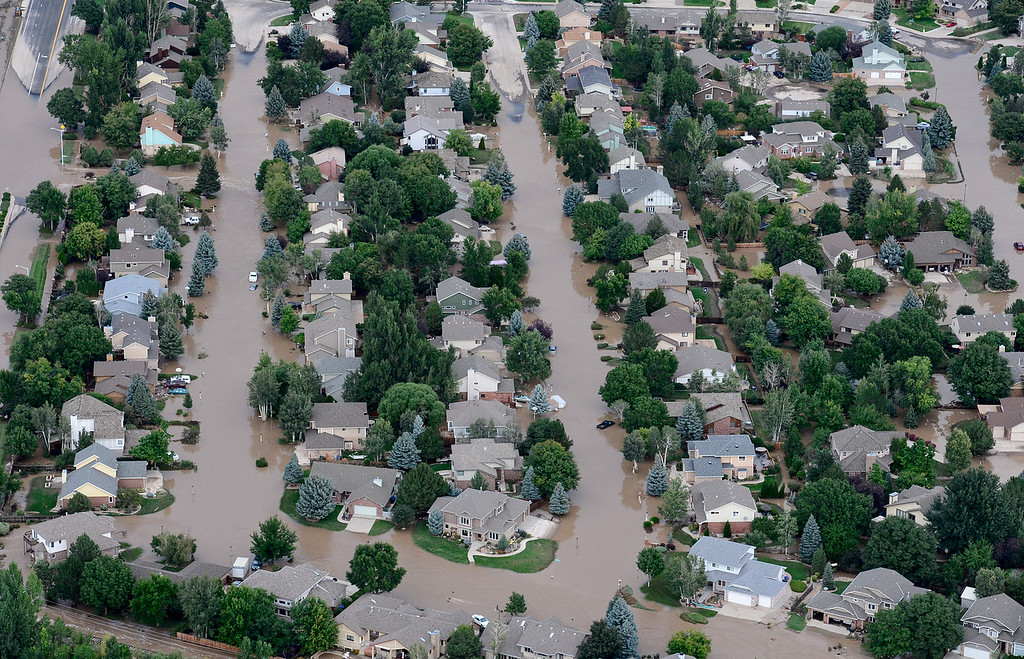 . Flooded homes are seen near Airport Road, Saturday, Sept. 14, 2013, in Longmont. (Matthew Jonas/Times-Call)