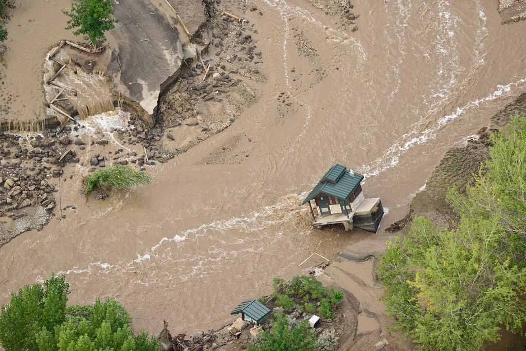 . A flood damaged Pella Crossing is seen, Saturday, Sept. 14, 2013, near Hygiene. (Matthew Jonas/Times-Call)
