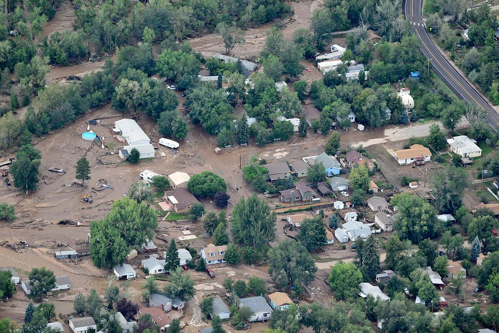 . A flooded neighborhood is seen, Saturday, Sept. 14, 2013, in Lyons. (Matthew Jonas/Times-Call)