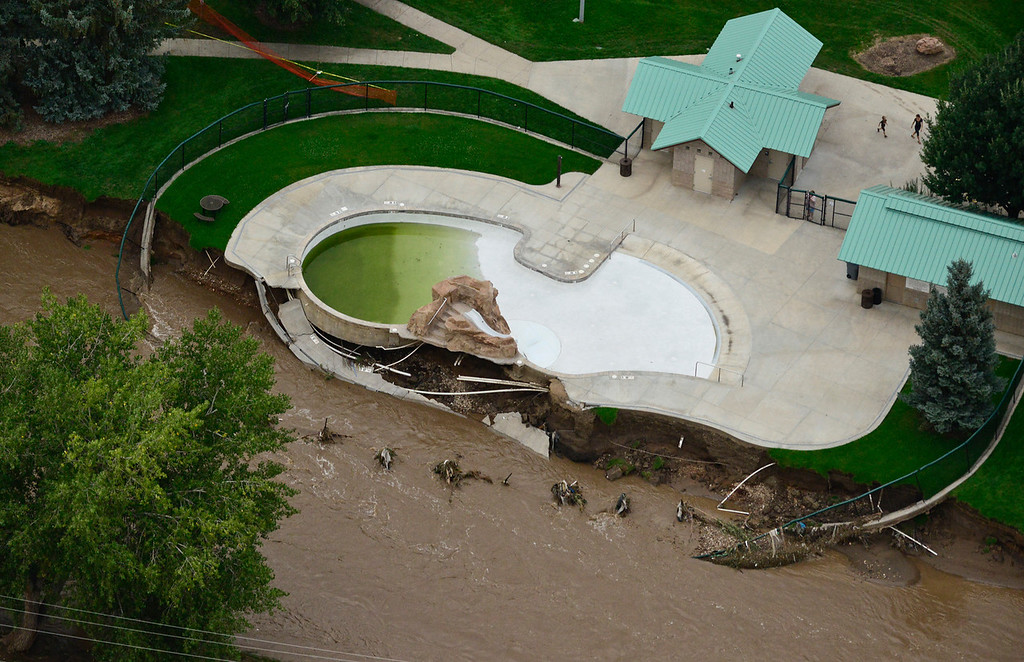 . The pool at Kanemoto Park is seen damaged, Saturday, Sept. 14, 2013, in Longmont. (Matthew Jonas/Times-Call)