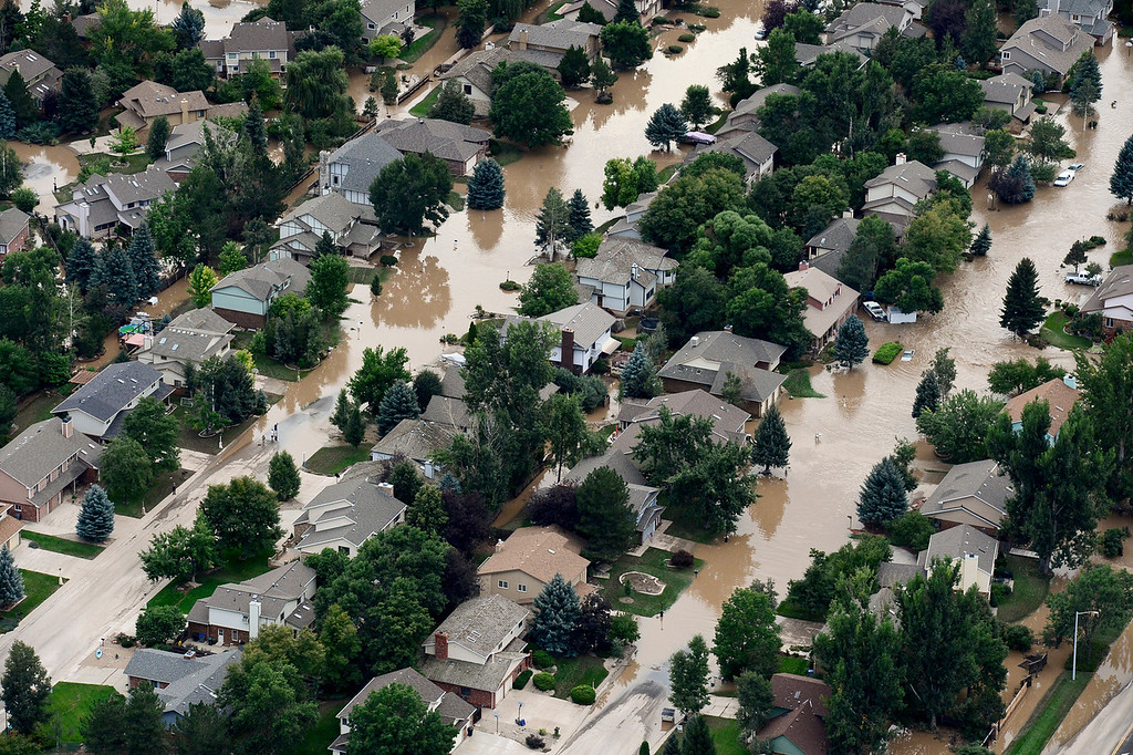 . The flooded neighborhood near Mountain View and Airport Road, Saturday, Sept. 14, 2013, in Longmont. (Matthew Jonas/Times-Call)