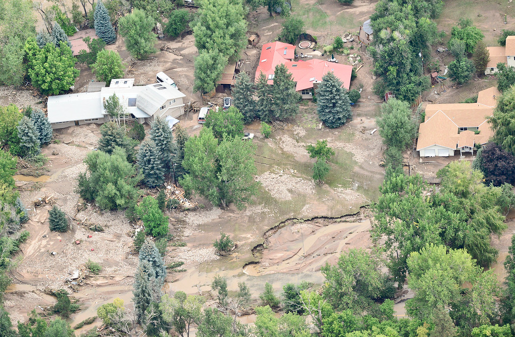 . Homes damaged by flood water are seen, Saturday, Sept. 14, 2013, in Lyons. (Matthew Jonas/Times-Call)