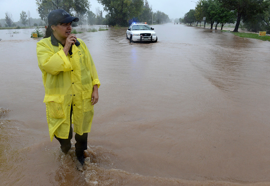 . Longmont police detective Victoria Bellah stands at Hover Street and Boston Avenue Thursday, Sept. 12, 2013. (Lewis Geyer/Times-Call)