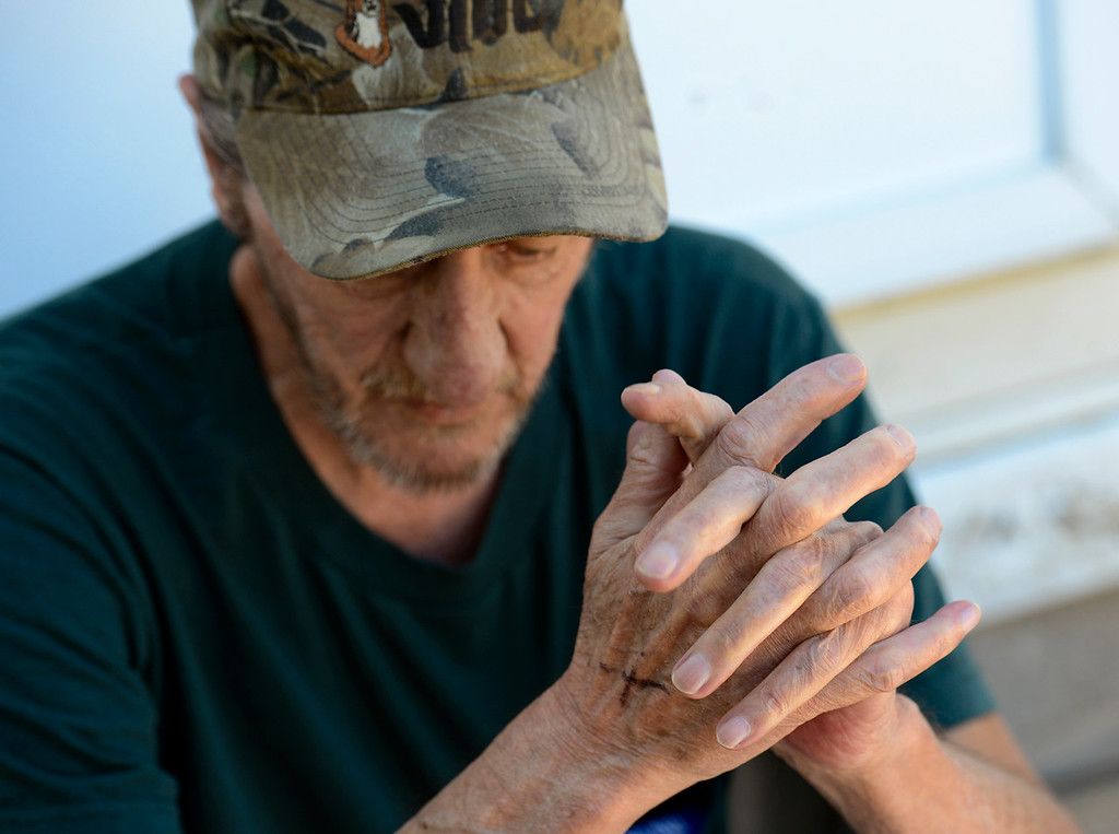 . Royal Mobile Park resident John Minch waits for a FEMA adjuster Tuesday, Sept. 17, 2013. (Lewis Geyer/Times-Call)