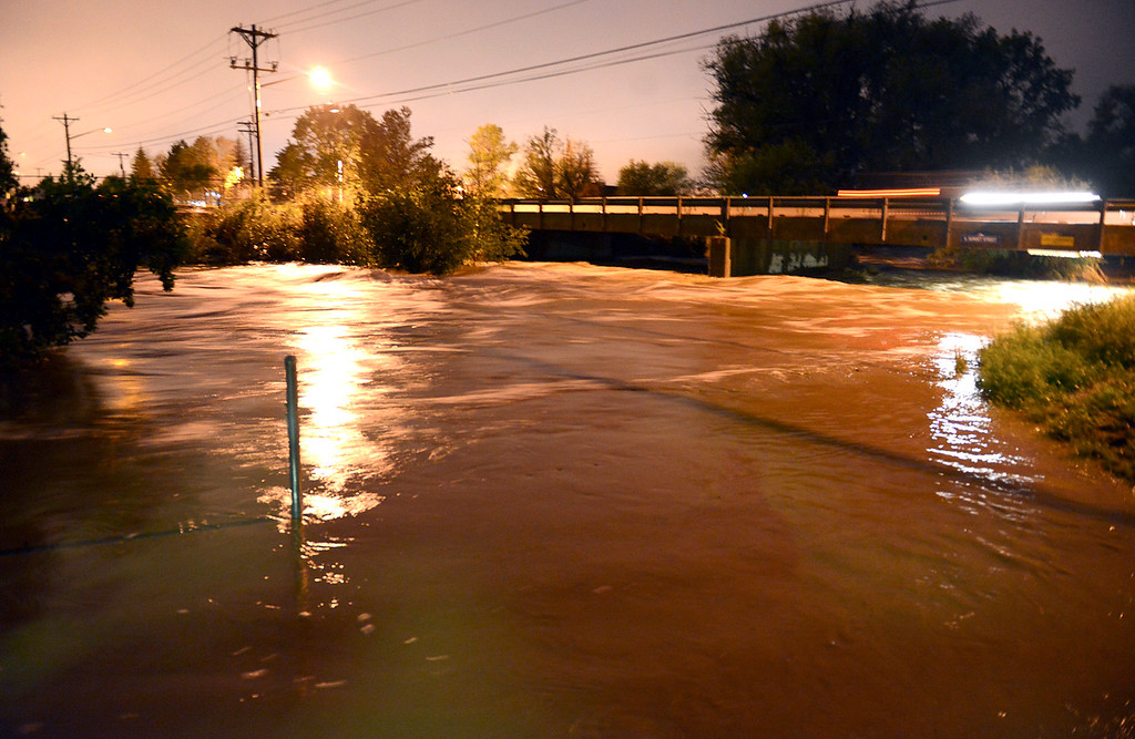 . The St. Vrain River at S. Sunset Street about 6 a.m. Thursday, Sept. 12, 2013. (Lewis Geyer/Times-Call)