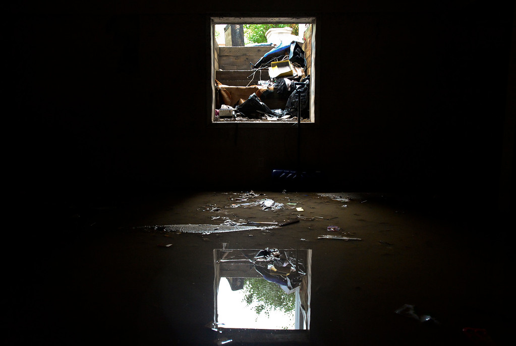 . A fully finished basement is seen with standing water at the home of Linda and Ron Rodgers, Sunday, Sept. 15, 2013, in Longmont. The Rodgers were told to evacuate their home after a notice from the city that conditions up stream had changed (Matthew Jonas/Times-Call)