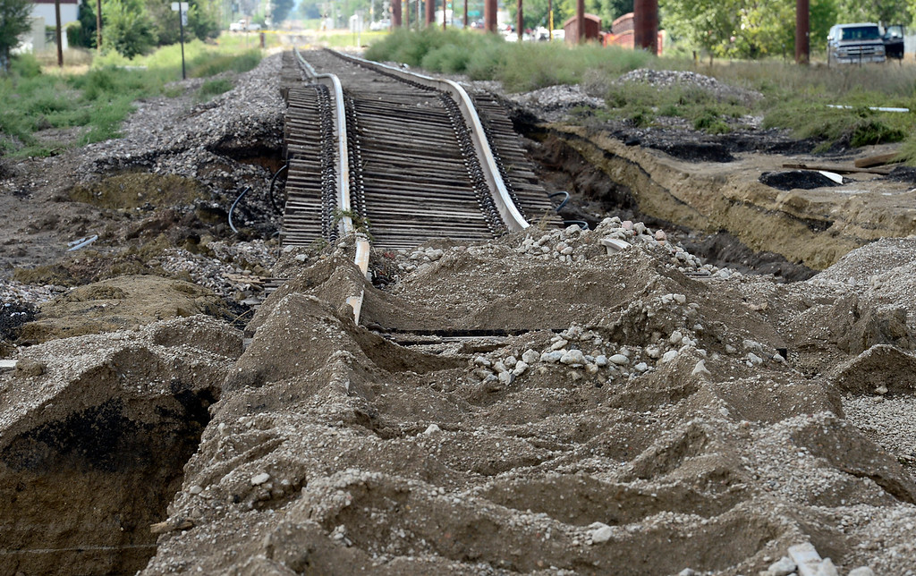 . The washed-out railroad tracks along Price Road Monday, Sept. 16, 2013. (Lewis Geyer/Times-Call)