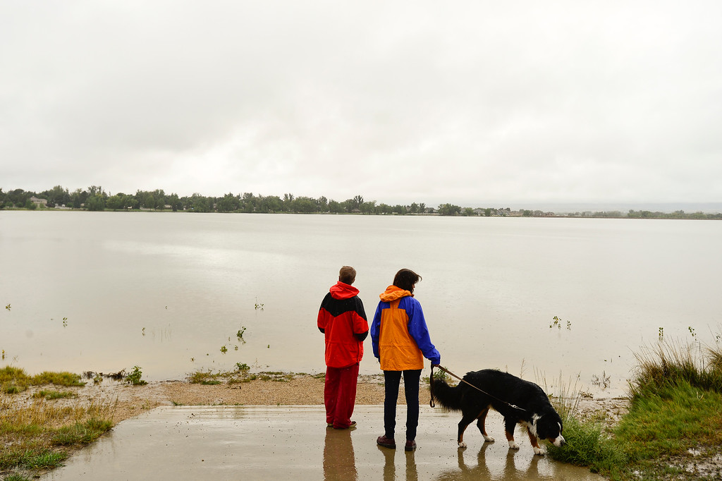 . High water levels are seen in McIntosh Lake, Sunday, Sept. 15, 2013, in Longmont. (Matthew Jonas/Times-Call)