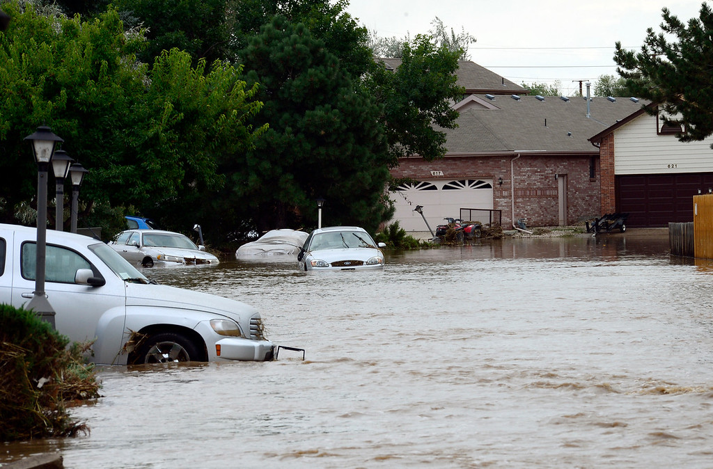 . A flooded Hayden Court Saturday afternoon, Sept. 14, 2013. (Lewis Geyer/Times-Call)